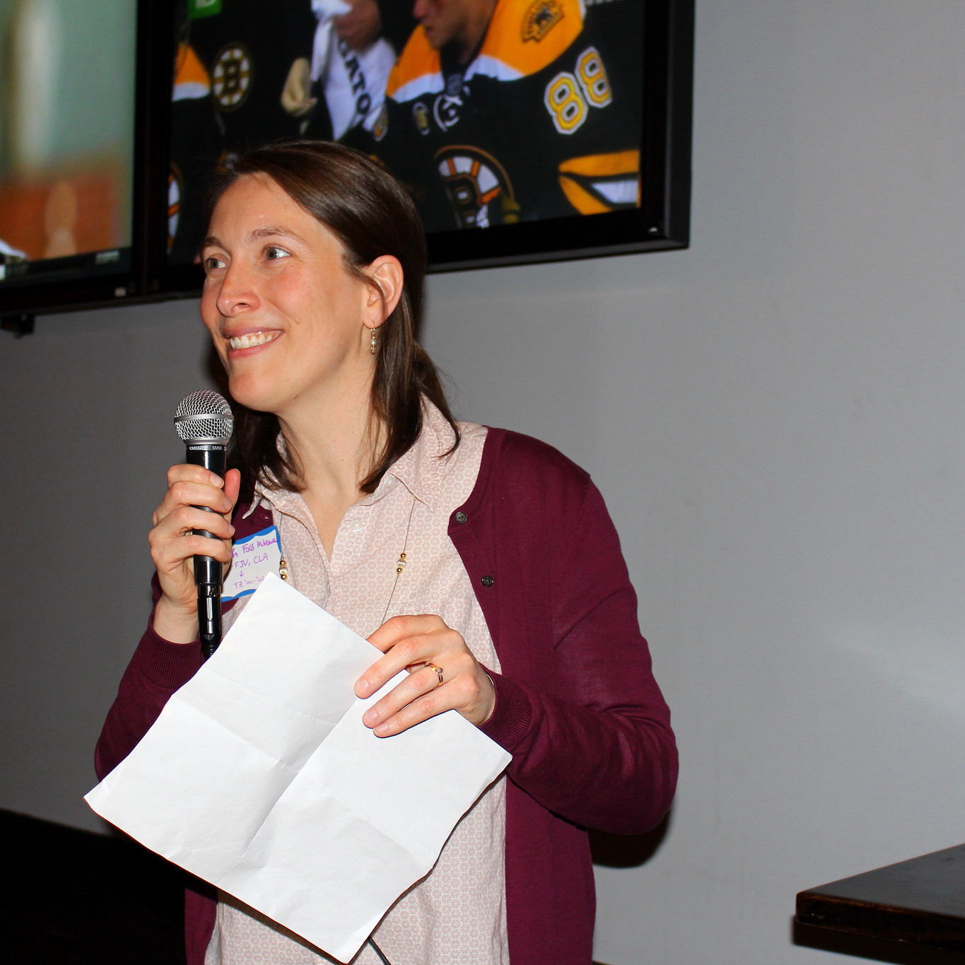 Beth Ford McNamee (Tanzania 2001-03) introduces the Solidarity on Tap speaker for the Philadelphia event.