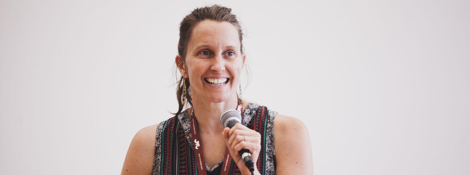 Paige Katzfey (Micronesia 2011-2013) at JVC Orientation. (2018)