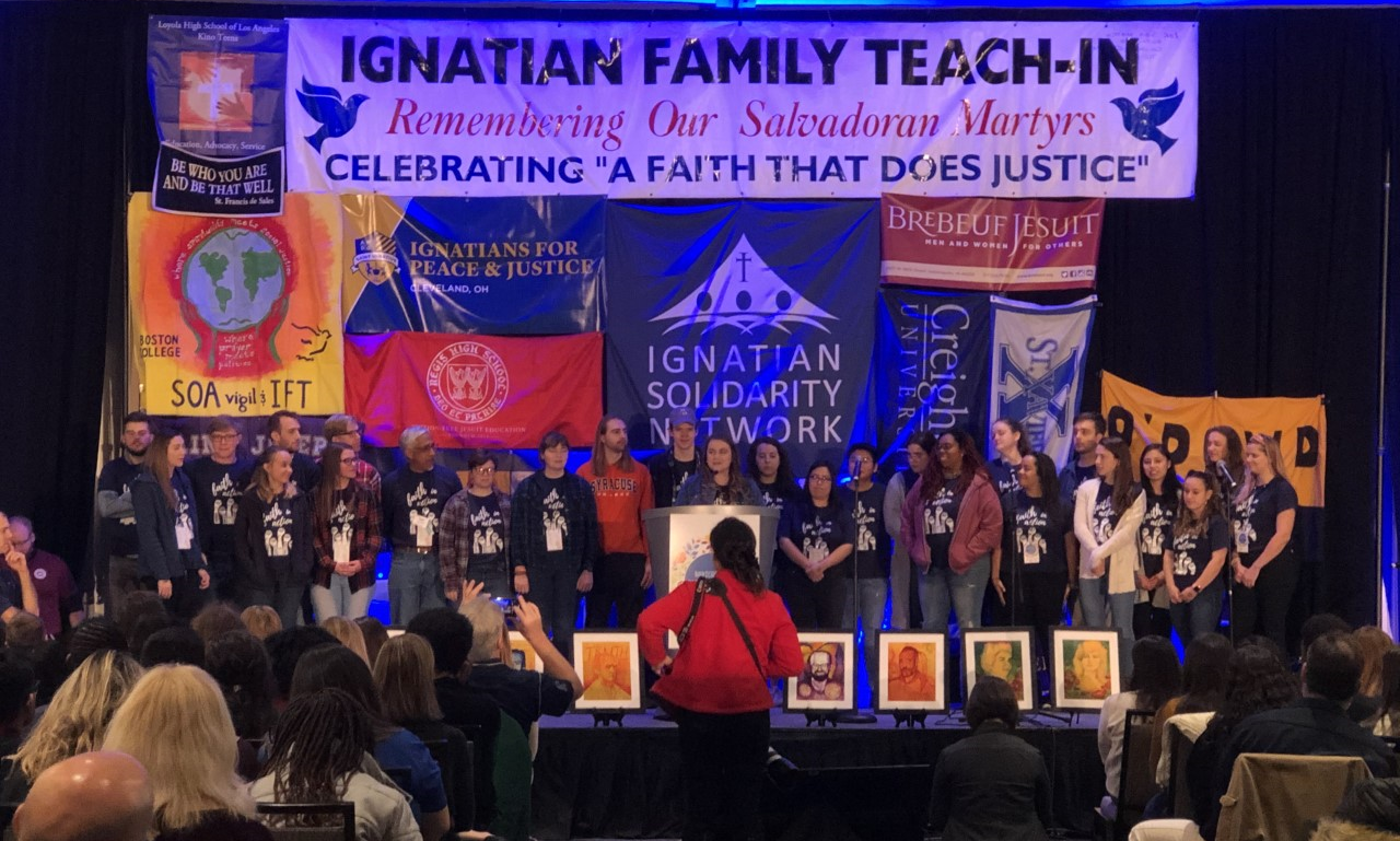 Jesuit Volunteers onstage at the Ignatian Family Teach-In for Justice in Arlington, VA. (2019)